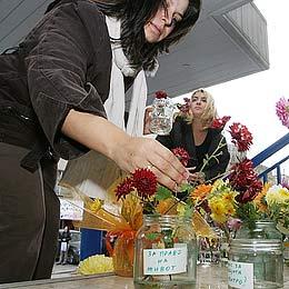 Bulgaria: Flower Jars Flag Bulgarian Women Protest