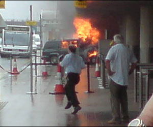 UK: Car on Fire Crashes into Glasgow Airport