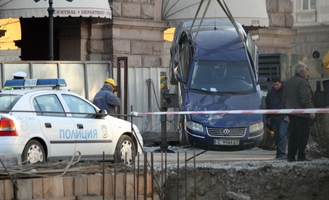 Car Tumbles in Metro Excavation Works in Downtown Sofia: Car Tumbles in Metro Excavation Works in Downtown Sofia