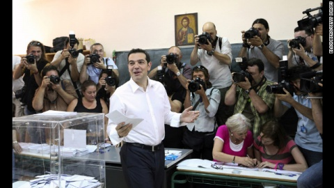 <b>Alexis Tsipras</b> has enjoyed huge popularity in <b>Greece</b> over the past two years with his staunch resistance against the country's bailout program. Photo by EPA/BGNES