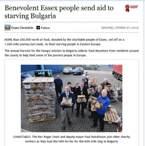 Bulgaria: Benevolent Essex People Send Aid to Starving Bulgaria