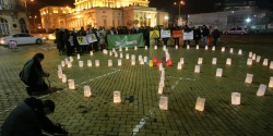 Bulgarian Eco Activists Light 'Radiation Sign' Lanterns: Bulgarian Eco Activists Light 'Radiation Sign' Lanterns
