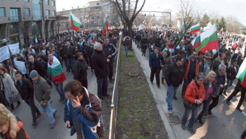 Demonstrators Blockade Main Varna Boulevard: Demonstrators Blockade Main Varna Boulevard
