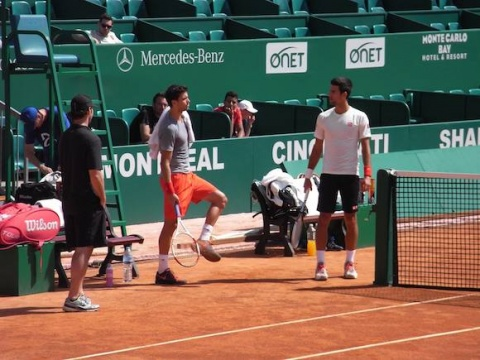 Bulgaria: Grigor Dimitrov, Novak Djokovic Warm up for Monte Carlo Masters