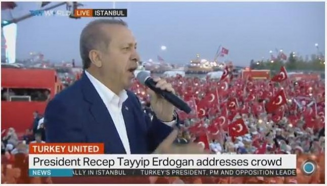 Bulgaria: Erdogan Pledges Support for Death Penalty at Last Turkey Anti-Coup Rally