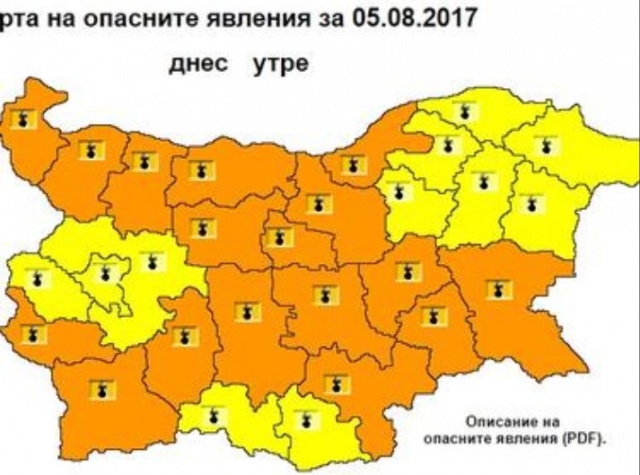 Bulgaria: Sweltering heat of over 40 °! Orange Code for Danger in Almost all of Bulgaria