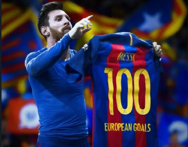 Football Super Star Lionel Messi Reached 100 Goals In The Champions