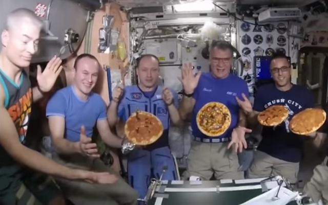 The astronauts made a pizza in zero gravity aboard space station