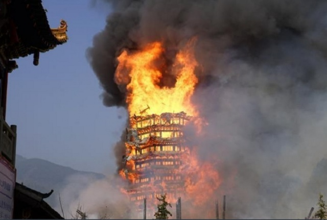 Bulgaria: Fire Destroys Pagoda Believed to be Tallest in Asia