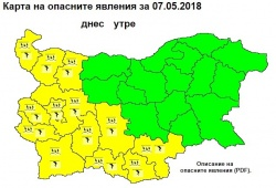 Bulgaria: Yellow Code for Heavy Rainfalls and Thunderstorms in Bulgaria, Hailstorms Are Also Expected