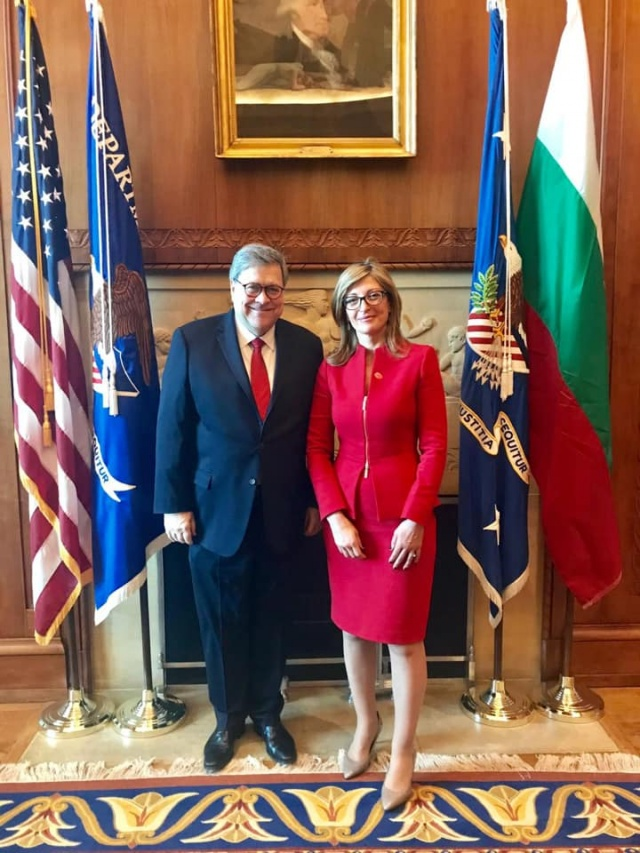 Bulgaria: Deputy Prime Minister Ekaterina Zaharieva Talked with the US Chief Prosecutor and Justice Minister William Barr in Washington