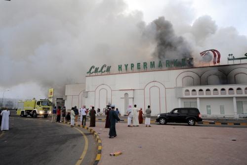 pictures smoke rises lulu hypermarket sohar kilometers north omans