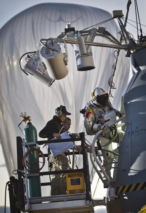 In Pictures Pilot Felix Baumgartner Of Austria Steps Into The