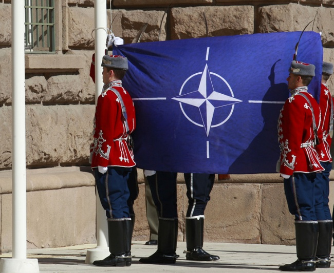 The National Guards carrying NATO's flag in front of the Bulgarian Presidency in Sofia, April 04, 2015